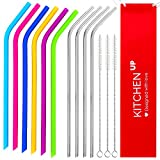 Reusable Straws Complete Bundle - 6 Regular Size Silicone Straws + 4 Reusable Stainless Steel Straws/Metal Straws + 3 Brushes + 1 Pouch - Reusable Straws Family Pack - Reusable Drinking Straws