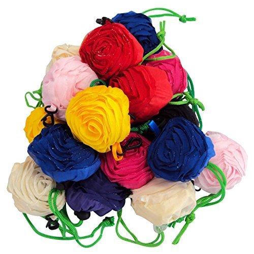 Moolecole 10pcs Rose Shopping Bag Foldable Bag Handle Bags Colorful Reusable Eco Bags Shoulder Tote