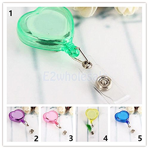 Price comparison product image Heart Retractable Reel Badge Holder Belt Clip Nurse Clip Name Card Key-Green