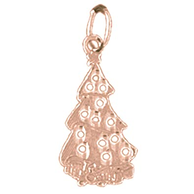 14k rose gold christmas tree pendant 20 mm