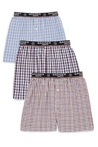 Badger Smith Men's 3 - Pack 100% Cotton Checks Multicolor Boxer Shorts Extra Extra Large (Best Quality Boxer Shorts)