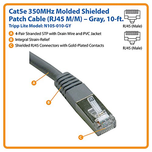 Tripp Lite N105-010-GY 10' RJ-45 Molded Shielded CAT-5e Patch Cable Gray