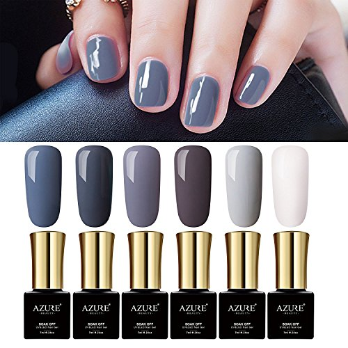 Gray Colors Gel Nail Polish Set UV LED Azure Beauty Nude Col