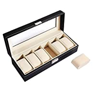 Ohuhu 6-Slot PU Leather Watch Box with Metal Lock