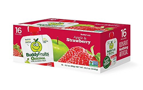 (Buddy Fruits 16 Pouches Of Originals Blended Fruit Squeeze Snack Pouches, Apple & Strawberry 3.2oz Each)