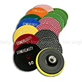 "4"" Diamond Polishing Pads Wet/Dry -Colored resin- 8 Piece Set Granite, Stone, Concrete, Marble"
