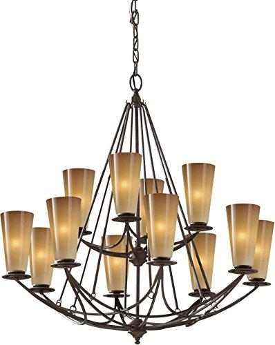 Feiss F2605/8+4MBZ El Nido Glass Chandelier Lighting , 12-Light, 720watts, Bronze (5