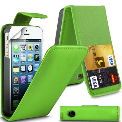 Eccellente Miglior iPhone di Apple 5 5S Parrot Green Flip PU Case Cover in pelle per Apple iPhone 5 5S G5GADGET®