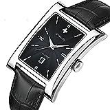 Retro Fashion Leather Strap Wave Texture Dial Rectangular Calendar Quartz Wristwatch For Men
