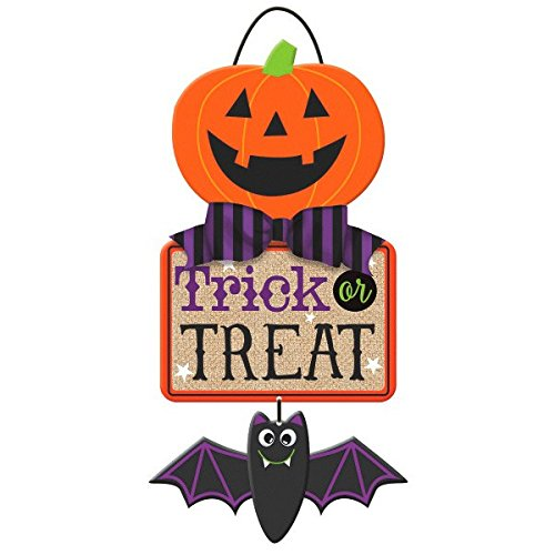 (Amscan Specialty Triple Hanging Sign Halloween Trick or Treat Party Decoration, Multicolor, 18