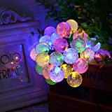 Solar Powered Globe String Lights (30 LED) - Decorative Outdoor Crystal Ball Bulbs for Home, Patio and Garden - Festive Waterproof Fairy Bubble Lighting for Cafes,Camping and Outdoors (Multi Color)