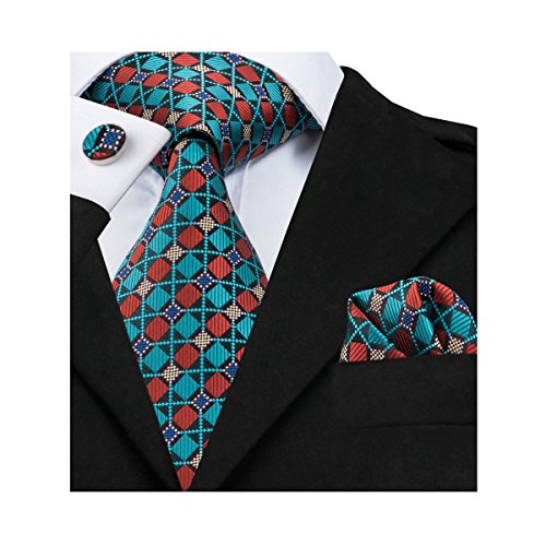 Hi-Tie Men Blue Check Plaid Tie and Pocket Square Tie Set