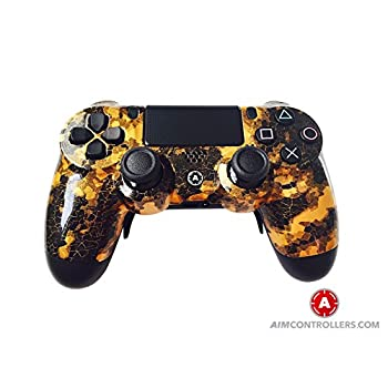 Image of Gamepads & Standard Controllers PS4 Slim Wireless Controller for Playstation 4 - Custom AimController DigiCamo Gold with 4 Paddles. Upper Left Square, Lower Left X, Upper Right Triangle, Lower Right O