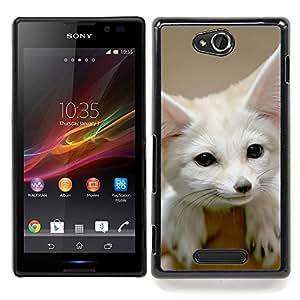 "Qstar Arte & diseño plástico duro Fundas Cover Cubre Hard Case Cover para Sony Xperia C (Linda Fennec Fox"")"