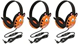 Califone 2810-TI Tiger Motif Listening First Stereo Headphone (Pack of 3), Adjustable Headband Comfortable for Extended wear, Specifically Sized for Young Children