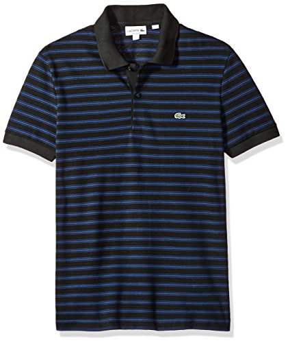 Lacoste Men's Short Sleeve Striped Pique Polo-Regular Fit, Black/Methylene, 5