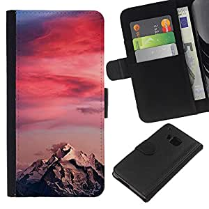 KingStore / Leather Etui en cuir / HTC One M7 / Sunset Colores Rosa Climber