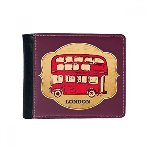 UK London Red Double-decker Bus Stamp Flip Bifold Faux Leather Wallet Multi-Function Card Purse Gift