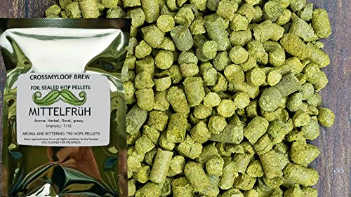 100g of Hallertau Mittelfruh Hop Pellets. 3-6% AA - 2017. Cold Stored CO2 Flushed for Freshness The Crossmyloof Brewery