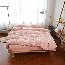mixinni® 3-Piece Lightweight Super Soft Pink Bedding Sets Solid Color Cotton Duvet Cover Set-Queen Size
