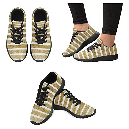 Interessante Womens Jogging Running Sneaker Leggero Go Easy Walking Casual Comfort Scarpe Da Corsa Fashion Golden Stripes Multi 1