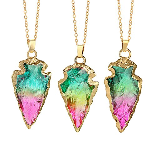Rainbow Crystal Pendant - FANSING Valentine's Day Gift Rainbow Irregular Quartz Stone Pendant Healing Crystal Gemstone Necklace for Women Girlfriend