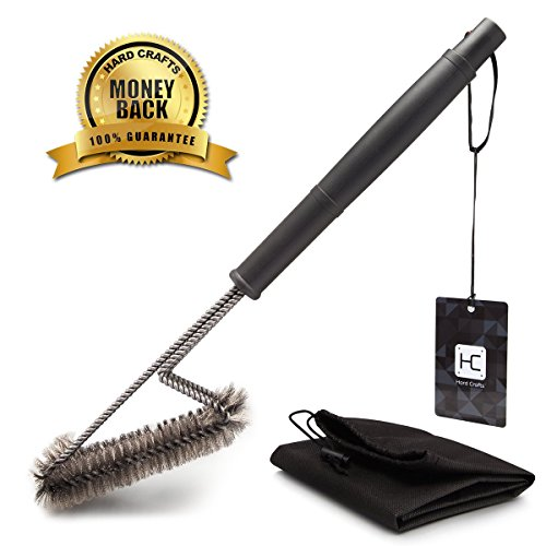 Lowest Prices! BBQ Grill Brush By Hard Crafts - Best Barbecue Grill Cleaner - 18- 3 Stainless Steel...