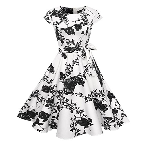 Aurorax Women Dresses,1950s Sleeveless Vintage Prom Dress Chinese Style Cocktail Party Swing Dress With Belt On Sale (White, XXL)