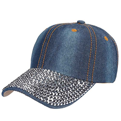 ZTL Studded Rhinestone Bling Baseball Cap Adjustable Jeans Denim Hat for Women