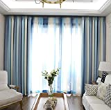 pureaqu Room Darkening Modern Style Thermal Insulated Living Room Curtains Metal Grommet Top Blue Striped Blackout Curtain Drape Panels Bedroom/Dining Room 1 Piece/Panel W52 x H63 Inch