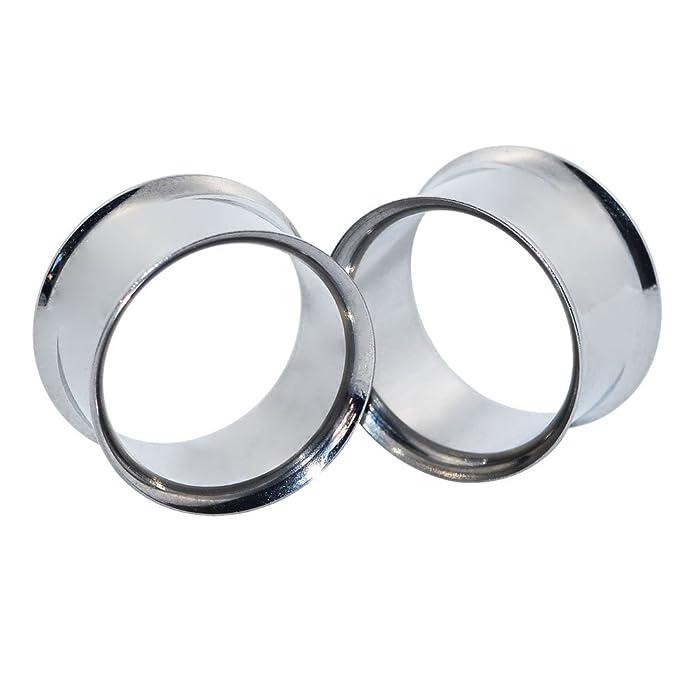 D&M Jewelry 2 Piezas Doble Flare Expansor de Túnel de Acero Inoxidable de Color Plateado Ear Plug Piercing 16mm: Amazon.es: Joyería