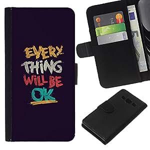 KLONGSHOP // Tirón de la caja Cartera de cuero con ranuras para tarjetas - Cosa Será Texto Ok motivación - Samsung Galaxy A3 //