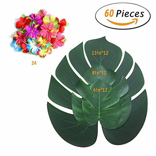 Tropical Turtle - Felice Arts 36Pcs Artificial Greenery Leaves with 24Pcs Silk Hibiscus Turtle Foliage Tropical Imitation Plant Leaves Decoration for Wedding Party Home