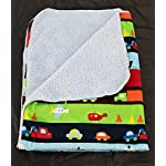 Deluxe-Plush-Blanket-for-Baby-Boys-and-Baby-Girls-Striped-Vehicles