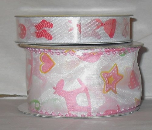 2 Pack of Baby Themed Ribbon - Girl - Pink - 2 Different Sizes - Images of bib, onesie, cap, rocking horse, baby booties and More (Cap Onesie Booties)