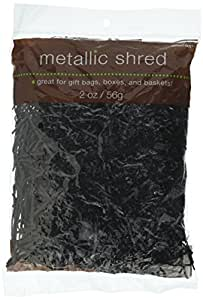 Festive Solid Color Metallic Paper Shreds and Strands Party Supply, Black, , 2 Ounces
