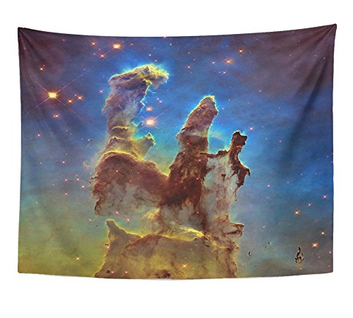Emvency Tapestry Deep Space Object Pillars of Creation in Eagle Nebula M16 The Constellation Wall Hanging Polyester Fabric for Bedroom Living Bedspread Room Dorm Decorations 60x80 Inches