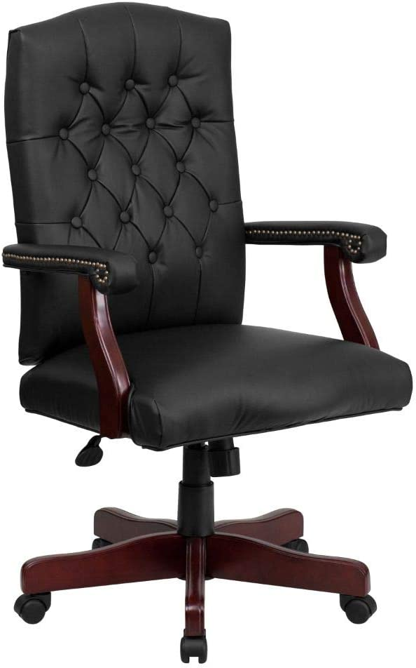 Flash Furniture Martha Washington Black LeatherSoft Executive Swivel Office Chair with Arms
