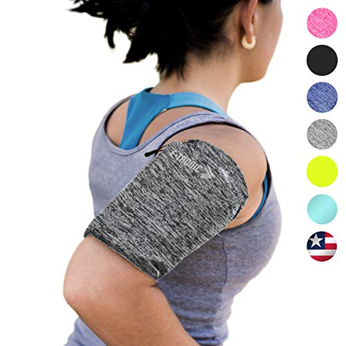 Phone Armband Sleeve: Running Jogging and Workout Cellphone Holder: Fitness Gear & Accessories for Women & Men iPhone 8 8plus X XR XS MAX 7 Plus 5s 6s iPod Galaxy S3 S5 S6 S7 S8 Note Edge Gray (L)