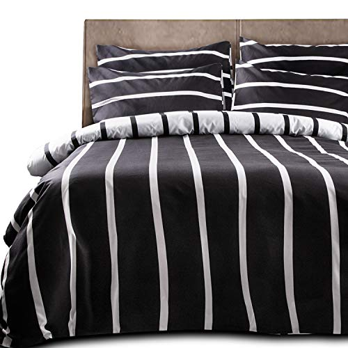 NTBAY 3 Pieces Duvet Cover Set, Brushed Microfiber, Striped