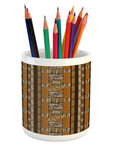 - Ambesonne Ethnic Pencil Pen Holder, Culture Ornamental Stripes with Earthy Classical Timeless Motifs, Printed Ceramic Pencil Pen Holder for Desk Office Accessory, Multicolor