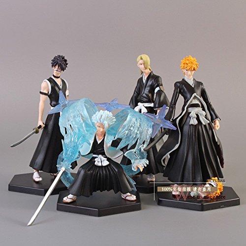 (Anime Bleach Bleach Kurosaki ichigo Hitsugaya Toushirou Kira Iziru PVC Action Figure Collectible Model Toy 4pcs/set BLFG004)