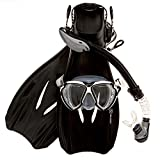 Sea Scout Adult Snorkeling Set - Dry-top Snorkel / Fins / Mask (Black, Medium)