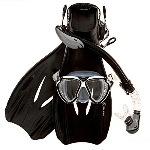 Sea Scout Adult Snorkeling Set - Dry-top Snorkel/Fins/Mask (Black, Medium)