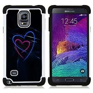 """Pulsar ( Amor Negro azul de neón rosa"""" ) Samsung Galaxy Note 4 IV / SM-N910 SM-N910 híbrida Heavy Duty Impact pesado deber de protección a los choques caso Carcasa de parachoques [Ne"""