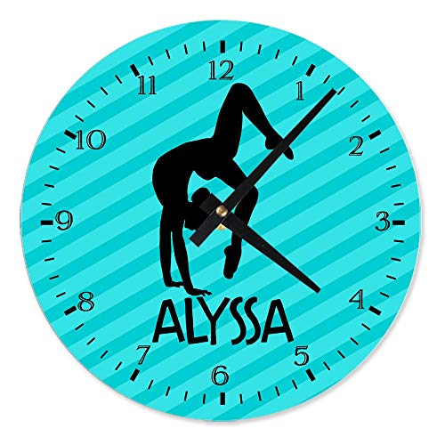 Susie85Electra Gymnastics Personalized Aluminum Clock Personalized Clock Gymnast Wall Clock Metal Clock Childrens Birthday Clocks Kids Clock