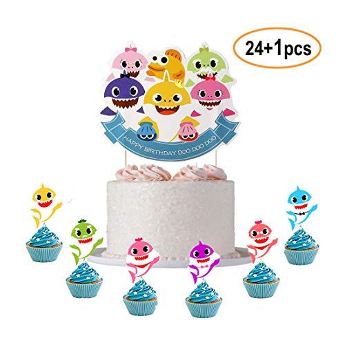 ELSANI Cute Shark Cake Topper Birthday Cake Topper Cake Decorations For Birthday ()