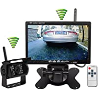 ATian Built-in Wireless Truck Parking System:12-24V Backup Camera + 7 inch HD LCD TFT Monitor Parking Kit IR Night Vision Surveillance Heavy Duty for Long Vehicle Bus Van Pickup Camper