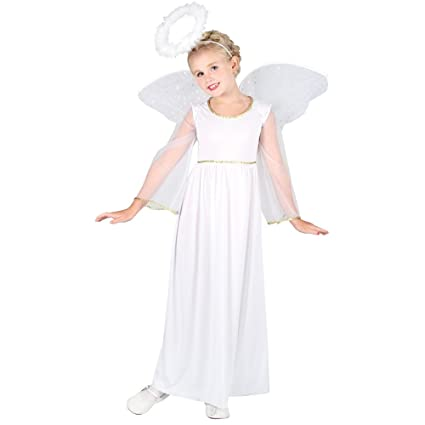 e22821320f Girls Angel Costume for Christmas Nativity Panto Fancy Dress Kids Childs (3-4  years)  Amazon.co.uk  Toys   Games