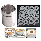 Chocolate Shaker Duster(Stainless Steel )+ 16pcs Cappuccino Coffee Stencils Template Duster Spray Art